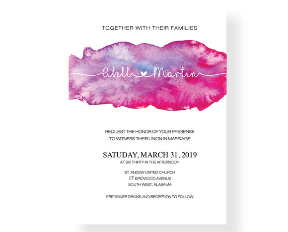 Watercolor Brushes Wedding Invitations - Invitetique