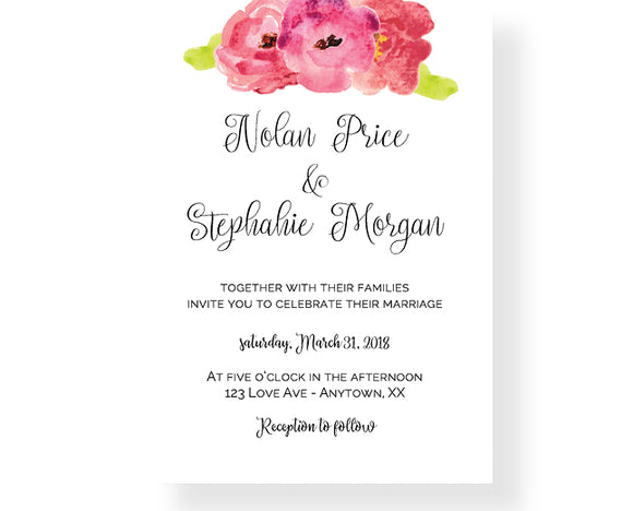 Watercolor Flower Wedding Invitations - Invitetique