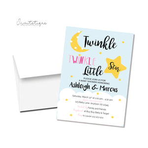 Twinkle Twinkle Baby Shower Invitation - Pink - Invitetique