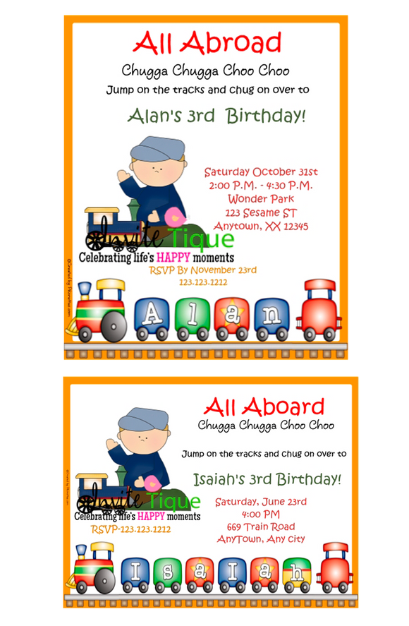 Train Birthday invitations - Invitetique