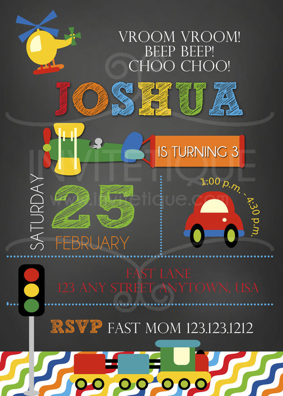 Transportation Birthday Invitations - Invitetique