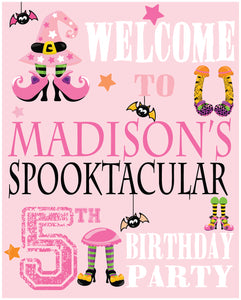 Pink cute halloween welcome yard sign