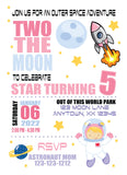 space girl birthday personalized invitation