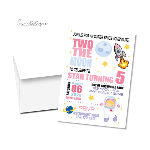 Two the moon girl space birthday invitation