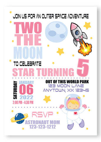 girl blast off space birthday invitation, kids birthday, girly space birthday