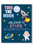 girl blast off out of space personalized welcome birthday party sign
