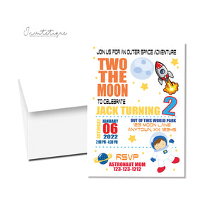 two the moon birthday party invitation