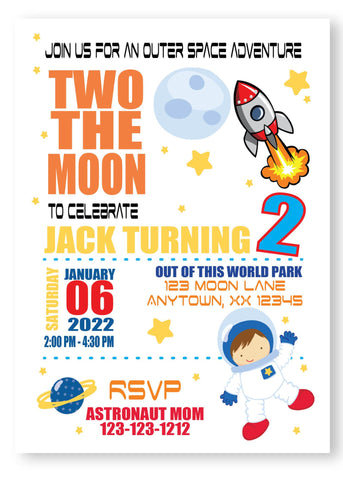 Two the moon and beyond digital personalized invitations