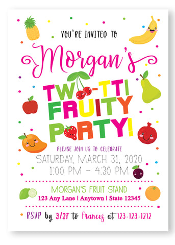 Twotti Frutti Birthday Party Digital Invitation - Invitetique
