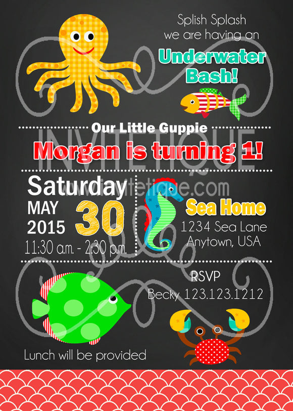 Under the Sea Birthday Invitations - Invitetique