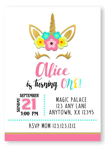 Pink & Gold Unicorn Birthday Invitations - Digital - Invitetique