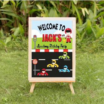 race car birthday, vintage car birthday, welcome race car sign