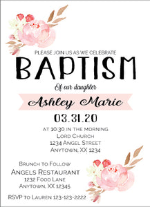Floral Pastel Baptism Invitations - Invitetique