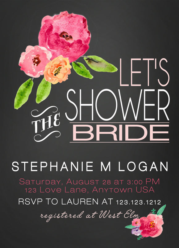 Bridal Shower Invitations Watercolor Flowers - Invitetique