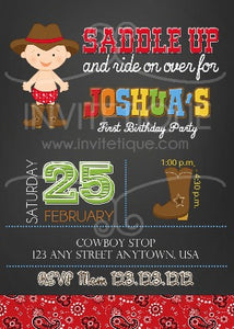 Cowboy Western Invites Chalk Invitations - Invitetique