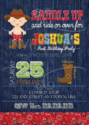 Cowboy Western Birthday Invitations - Invitetique