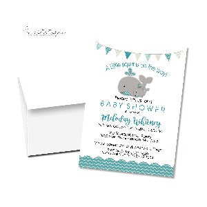 A Happy whale & squirt Baby Shower Invitation - Teal - Invitetique