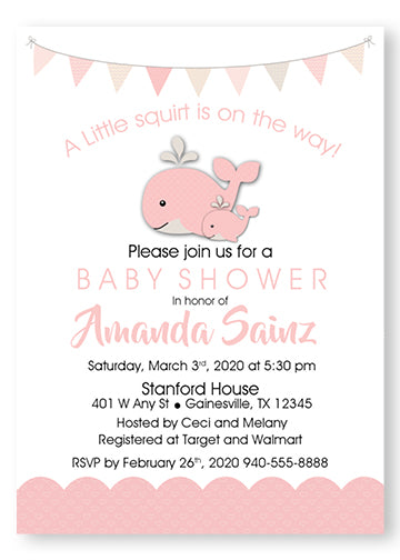 A Happy whale & squirt Baby Shower Invitations - Pink - Invitetique