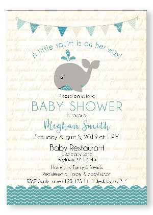 A Happy whale Baby Shower Invitations - Teal - Invitetique