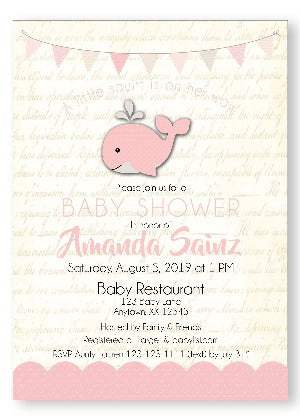 A Happy whale Baby Shower Invitations - Pink - Invitetique
