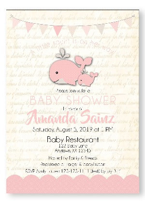 A Happy whale & Squirt Baby Shower Invitations little squirt whale- Invitetique
