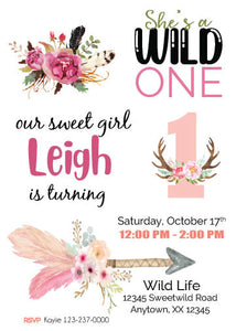 Wild one birthday invitation