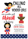 wonder woman baby birthday invitation