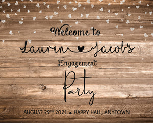 Wood and Hearts Engagement Welcome Party Sign - Invitetique