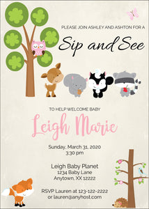 Woodland Friends Sip and See Invitations - Invitetique