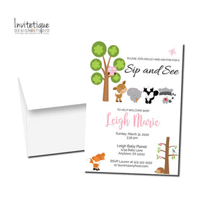 Woodland Friends Sip and See invitations SSI721 - Invitetique