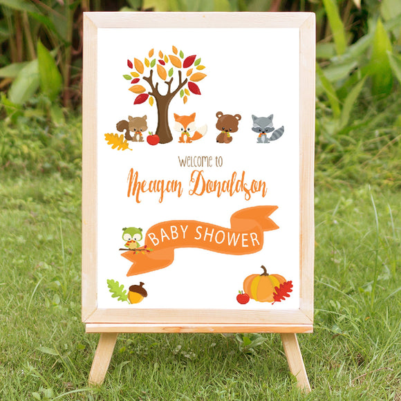 Woodland Friends Baby Shower Welcome Sign - Invitetique