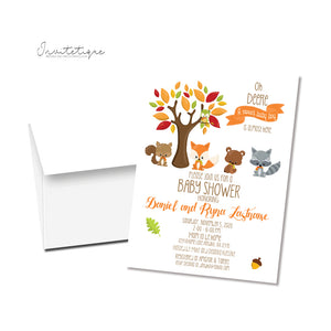 Sweet Woodland Animal Baby Sprinkle Invitations - Invitetique