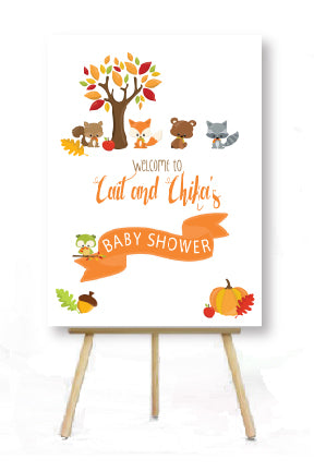 woodland baby shower poster