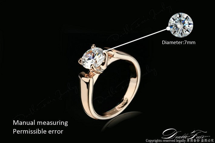 Double Fair 1.25 Carat Round Cut Cubic Zircon Engagement Rings for Women / Men