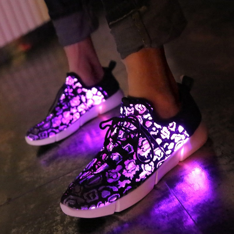 Led Shoes USB chargeable glowing Sneakers Fiber Optic Unisex
