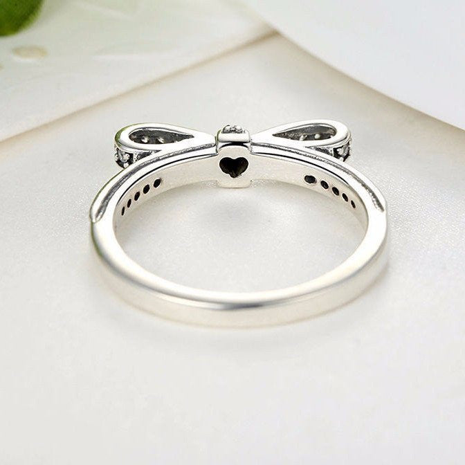 Authentic 925 Sterling Silver Women's Sparkling Bow-Knot Stackable Ring with AAA Austrian Cz