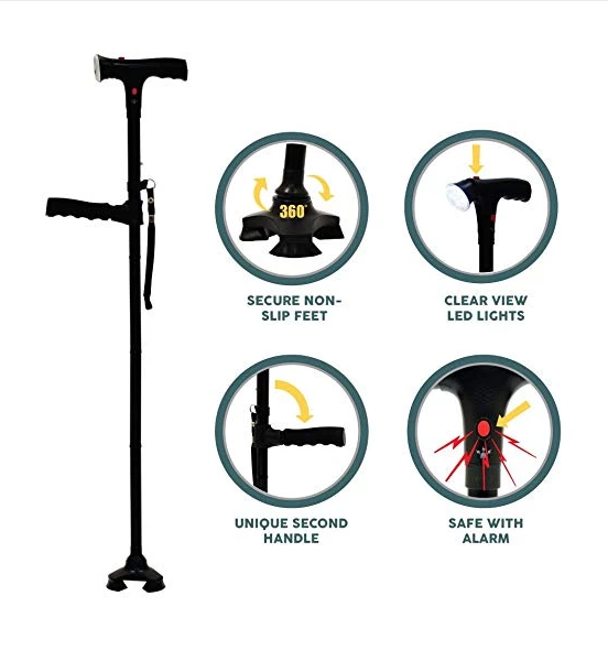 SELF STANDING FOLDABLE WALKING CANE/STICK WITH 6 LED LIGHTS!