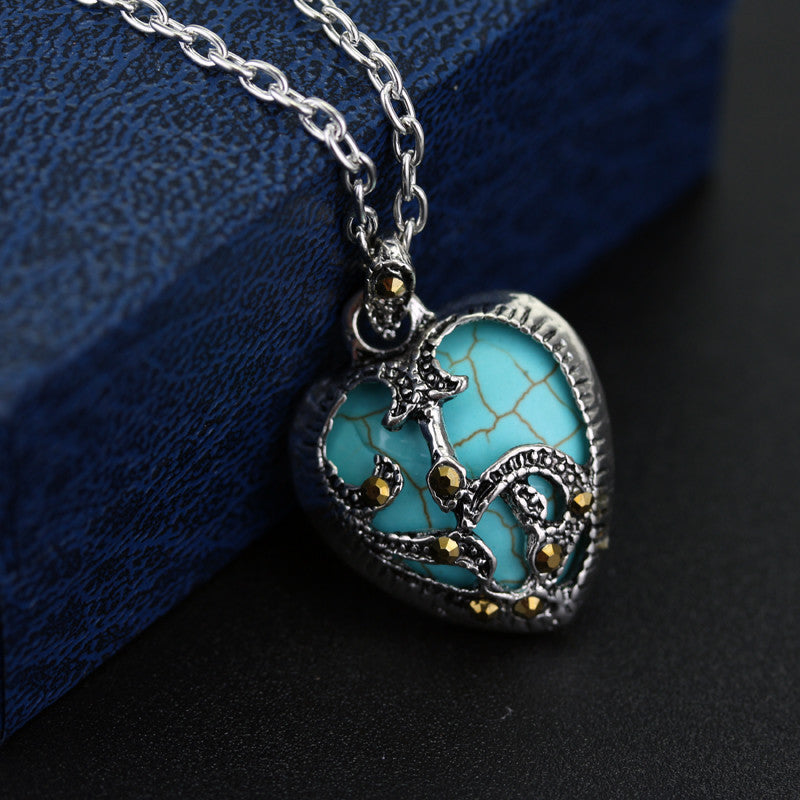 Necklace Silver Plated Marcasite with Blue & Black Stone Heart Pendant