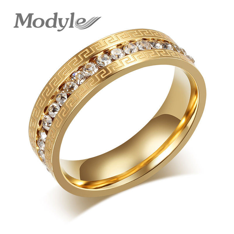 Modyle Brand Gold Rings for Women Vintage -Austrian Crystal Wedding Ring Stainless Steel