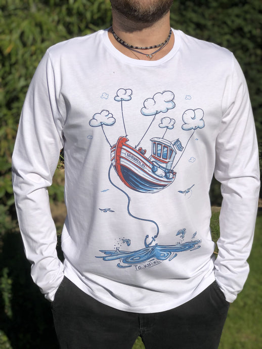 DodecaTees - Men Boat Clouds Organic Long Sleeve T-shirt - White