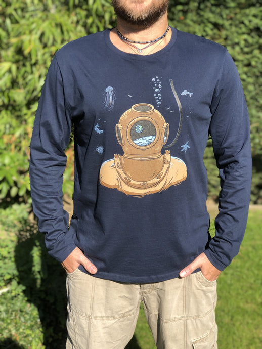 DodecaTees - Men Sponge Diver Organic Long Sleeve T-shirt - Navy
