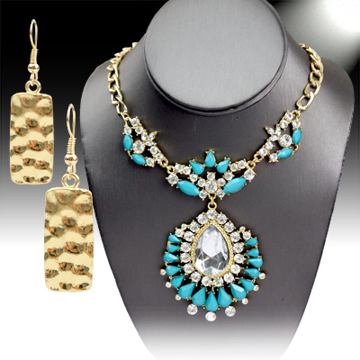 Necklace and Earrings Matching Set- Crystal & Rhinestone Necklace Set -56