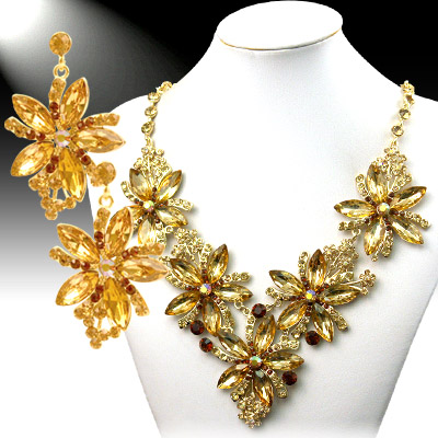Necklace and Earrings Matching Set- Crystal & Rhinestone Collection -16