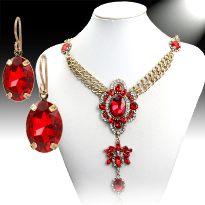 Necklace and Matching Earrings Set- Crystal & Rhinestone Collection