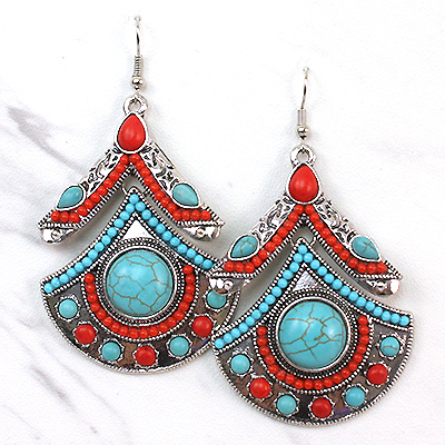 Earrings Set- Aztec With Turquoise Dangling Collection -14