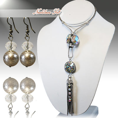 Necklace and Matching Earrings Set- Epoxy Crystal Collection