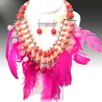 Necklace and Matching Earrings Set- Charming Feather Collection