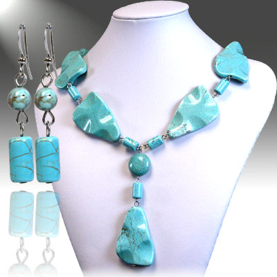 Necklace and Earrings Matching Set- Turquoise Trendy Fashion Collection-55