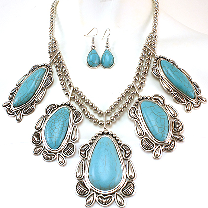 Necklace and Earrings Matching Set- Artisan Turquoise Stone Collection-57