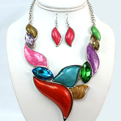 Necklace and Earrings Matching  Set -Gemstone Epoxy Collection -62